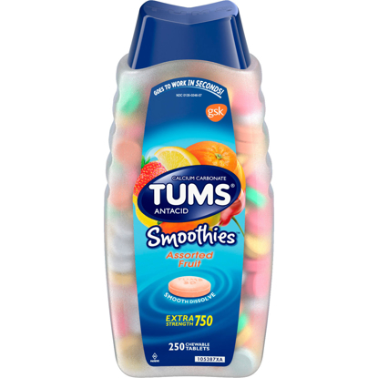 Picture of TUMS Smoothies Assorted Fruit Antacid Chewable Tablets for Heartburn Relief 250 ct