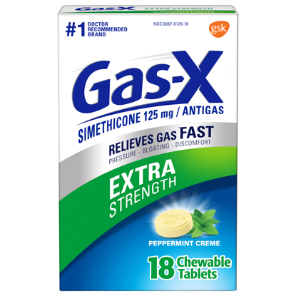 Picture of Gas-X Extra Strength Gas Relief Chewable Tablets Peppermint Creme 18 Count