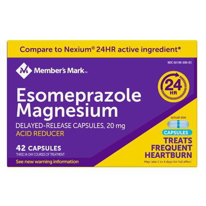 Picture of Member's Mark Esomeprazole Magnesium Delayed Release Acid Reducer Capsules 20 mg 42 ct