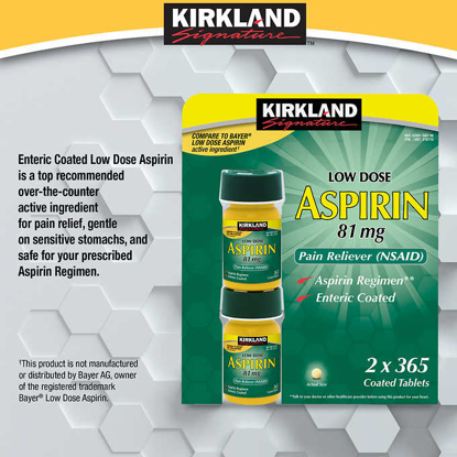 Picture of Kirkland Signature LOW Dose Aspirin 81mg 365 Enteric Coated Tablets for Pain Reliever