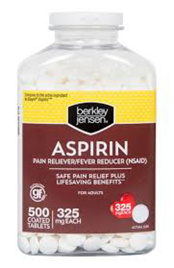 Picture of Berkley Jensen Aspirin Coated Tablets for Adults 500 ct