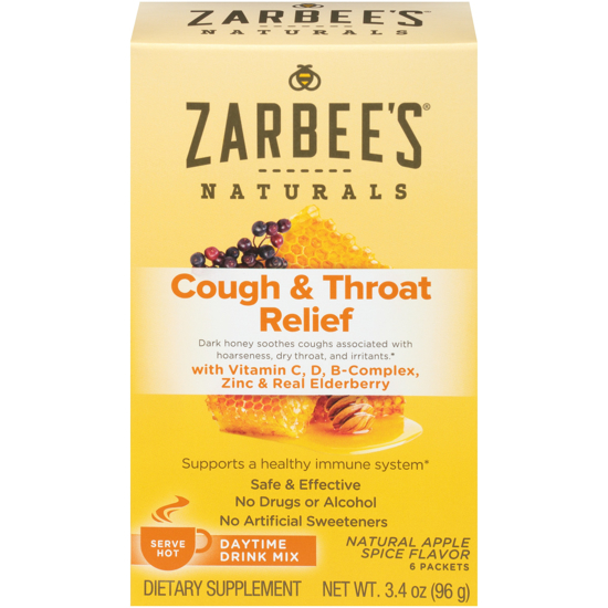 Picture of Zarbee's Naturals Cough & Throat Relief Daytime Drink Mix Apple Spice 6 ct Box