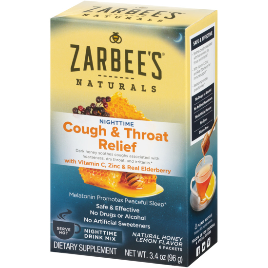 Picture of Zarbee's Naturals Cough & Throat Relief Nighttime Drink Mix with Vitamin C Zinc & Real Elderberry Natural Honey Lemon Flavor 6 Packets