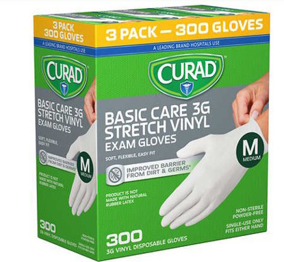 Picture of Curad Basic Care 3G Vinyl Exam Gloves Medium 300 ct CUR8235