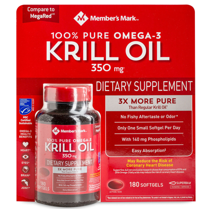 Picture of Member's Mark Pure Omega-3 Krill Oil 100% 350 mg 180 ct