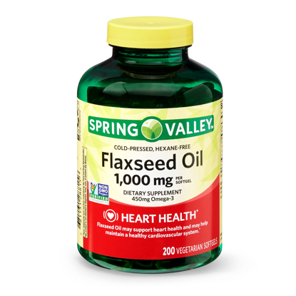 Picture of Spring Valley Flaxseed Oil 1000 mg 200 Vegetarian Soft gels