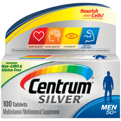 Picture of Centrum Silver Multivitamins for Men Over 50 Multivitamin Multimineral Supplement with Vitamin D3 B Vitamins and Zinc 100 Count