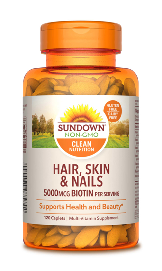 Picture of Sundown Naturals Hair Skin & Nails 5000 mcg of Biotin 120 Tablets