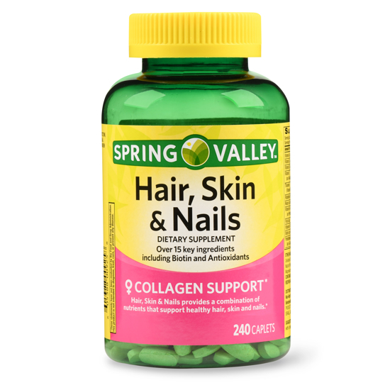 Spring Valley Hair Skin & Nails Caplets with Biotin & Antioxidants 3000 mcg 240 Count