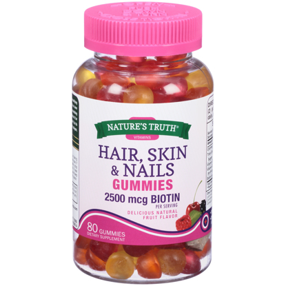 Picture of Nature's Truth® Hair Skin & Nails 2500 mg Biotin Dietary Supplement Gummies 80 ct Bottle