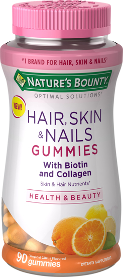 Nature's Bounty Optimal Solutions Hair Skin & Nails Gummies Tropical Citrus 90 Ct