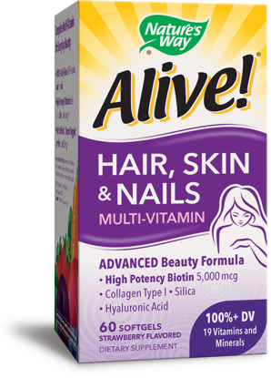 Nature's Way Alive! Hair Skin and Nails Multivitamin Softgels Strawberry 60 Ct