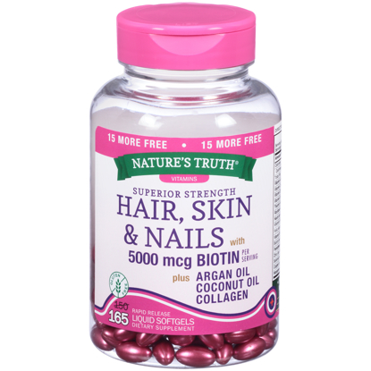 Nature's Truth® Superior Strength Hair Skin & Nails with 5000 mg Biotin Dietary Supplement Liquid Softgels 165 ct Bottle