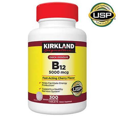 Kirkland Signature Quick Dissolve B-12 5000 mcg 300 Tablets