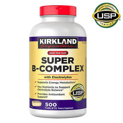 Kirkland Signature Super B-Complex with Electrolytes 500 Tablets