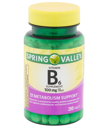 Spring Valley Vitamin B6 Tablets 100 mg 250 Count