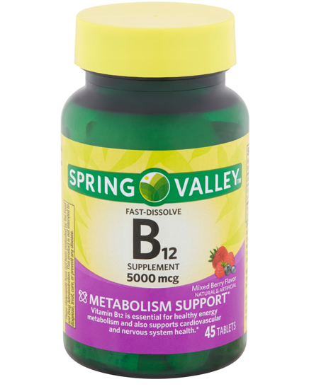 Spring Valley Vitamin B12 Fast Dissolve Tablets 5000 mg 45 Count