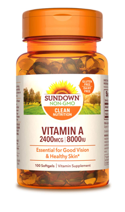 Sundown Naturals Vitamin A 8000 IU 100 Softgels