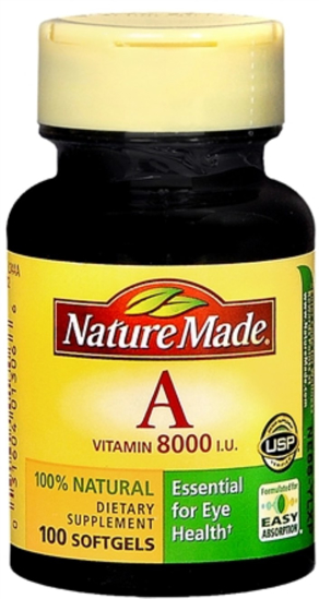 Nature Made Vitamin A 8000 IU Softgels 100 Soft Gels