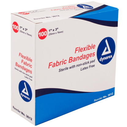 "Dynarex Flexible Sterile Fabric Bandage 1"" x 3"""