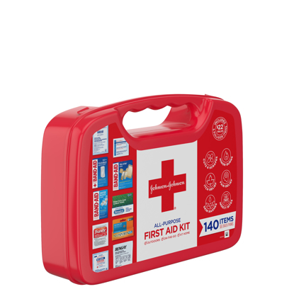 Johnson & Johnson All-Purpose Portable Compact First Aid Kit 140 pc