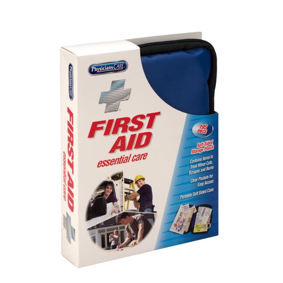First Aid Only Essential Care First Aid Kit Fabric Case 195 Pc