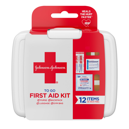 Johnson & Johnson First Aid To Go! Portable Mini Travel Kit 12 pieces