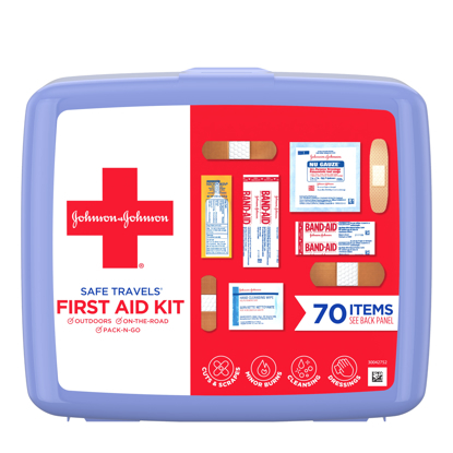 Johnson & Johnson Safe Travels Portable Emergency First Aid Kit 70 pc