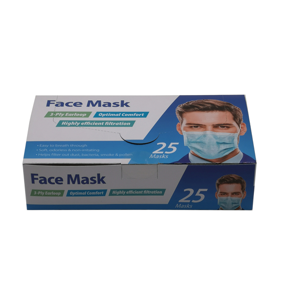 3 Ply Earloop Face Mask 25 ct