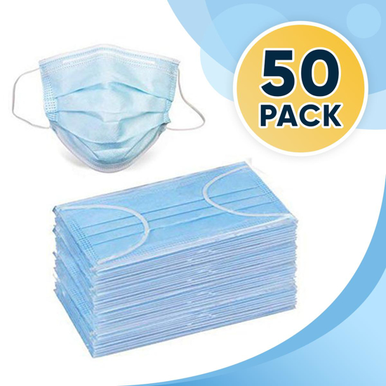 50 Disposable Face Masks 3 ply Breathable Dust Protection Masks Elastic Ear Loop Filter Mask