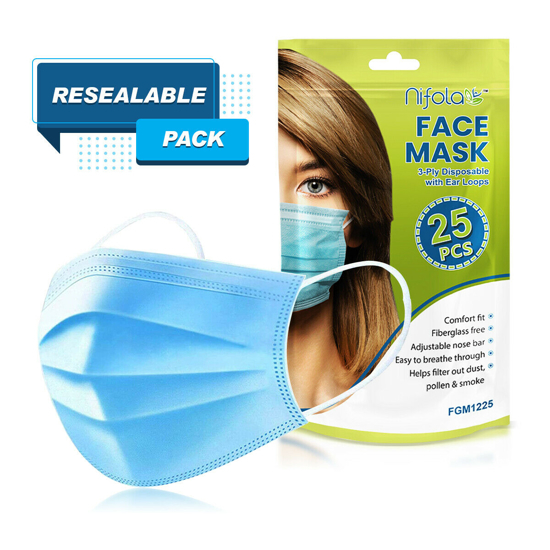 25 Unit Earloop Face Masks Soft & Comfortable 3 Ply Non-Woven Fabric Disposable Safety Cover Guard against Air Pollution Unseen Airborne Substances Pollen Smoke etc with Resealable Bag By Nifola