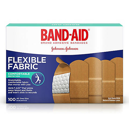 Band-Aid Brand Flexible Fabric Adhesive Bandages for Minor Wound Care 100 ct