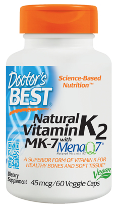 Doctor's Best Natural Vitamin K2 MK 7 with MenaQ7 Non-GMO Vegan Gluten Free Soy Free 45 mcg 60 Veggie Caps