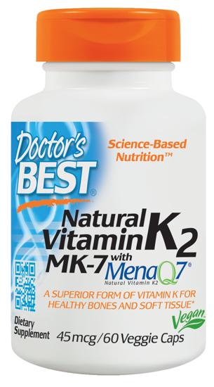 Doctor's Best Natural Vitamin K2 MK 7 with MenaQ7 Non-GMO Vegan Gluten Free Soy Free 45 mcg 60 Veggie Caps