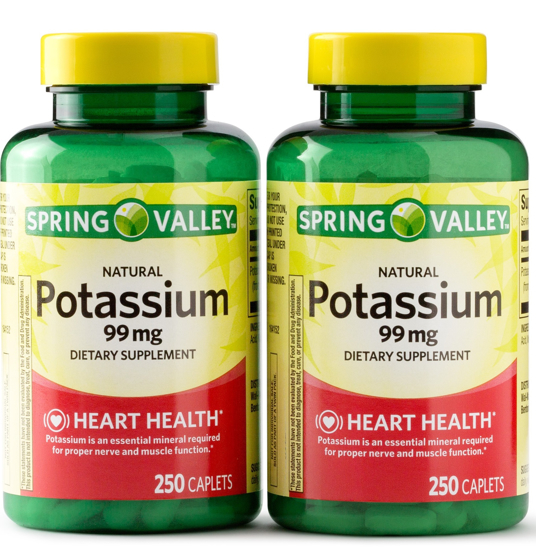 Spring Valley Potassium Dietary Supplement Caplets 99 mg 250-Count 2-Pack