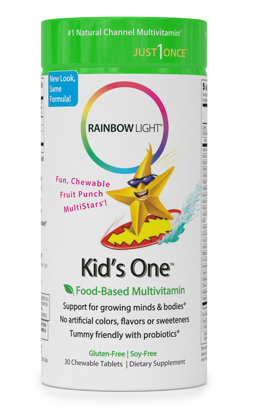 Rainbow Light Kids One Food Based Multivitamin Chewable Probiotic Vitamin and Mineral Supplement Soy and Gluten Free Supports Brain Bone Heart Eye and Immune Health in Kids 30 Tablets