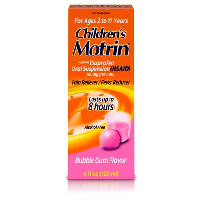 Children's Motrin Ibuprofen Kids Medicine Bubblegum Flavor 4 fl. oz
