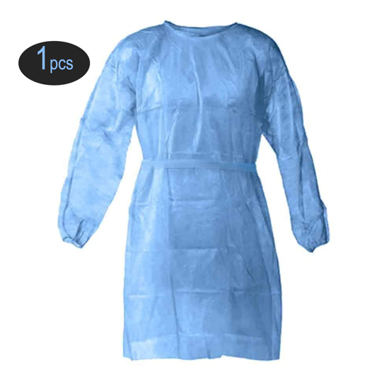 Isolation Gown Poly Coated Elastic Cuffs Clothing Fluid Resistant Impervious Medical Grade Level 2