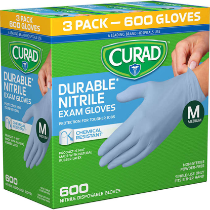 Picture of Curad Durable Nitrile Exam Gloves, Medium, 600 ct
