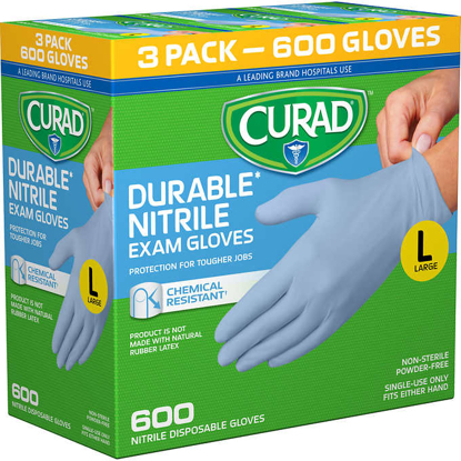 Picture of Curad Durable Nitrile Exam Gloves Large 600 ct