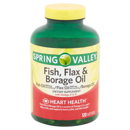 Spring Valley Fish Flax & Borage Oil Softgels 120 Count  2 pak