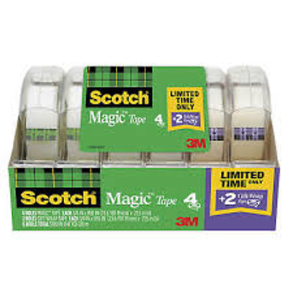 "Scotch Magic Tape w Refillable Dispenser ¾"" x 850"" 4 Pack Bonus 2 Gift Wrap Tape"