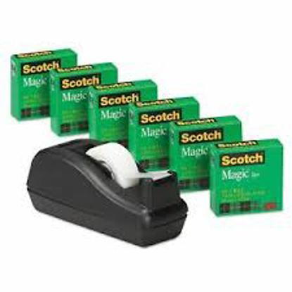 """Scotch Scotch Magic Tape 3/4"""" x 1000"""" 1"""" Core Black 6 Pack"""