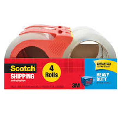 Scotch Heavy Duty Shipping Packaging Tape with Dispenser 4 Rolls
