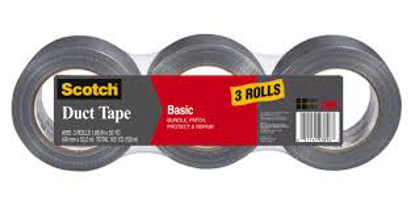 """Scotch Basic Duct Tape with 1 19/50"""" Core 1 19/50"""" x 1,980"""" 3 pk Silver"""